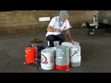 Incredible street drummer! insane beats! WOW!