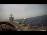 F18 Hornet Landing on United States Aircraft Carrier Cockpit Pilot Video View as Fighter Jet Lands