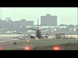 BBC News   Flights nose gear collapses as it lands at New Yorks LaGuardia