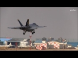 "three F/A-18 Super Hornet,Landing ""touch down"" United States Navy (USN) Strike Fighter Squadron"