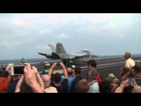 F/A-18 Super Hornets Landing On Aircraft Carrier – USS Enterprise Tiger Cruise 2011