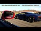 Modified Red Nissan GT-R Drag Race Against Blue Lamborghini Aventador