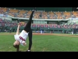 Gymnast throws incredible first pitch