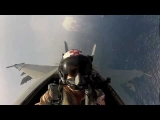 F18 Hornet Flying Cockpit View of Pilot Flyover and Jet Fighter Flyby Video of US Aircraft Carrier